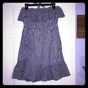 J Crew Navy Gingham Strapless Ruffle Dress